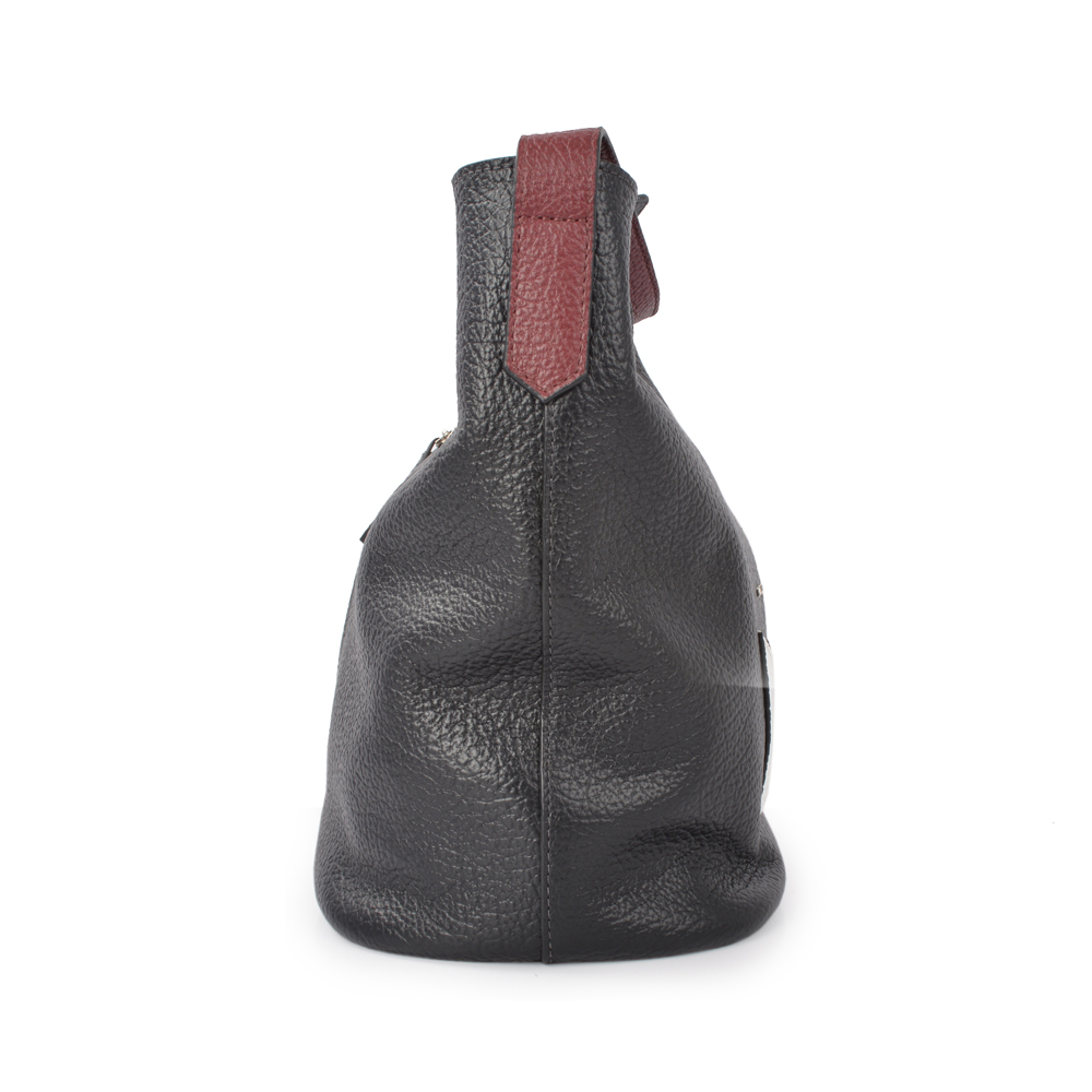 trend top leather lady hand bag women drawstring bucket bag