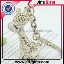 Rhinestone metal giraffe keychain best seller