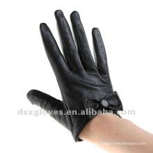 Leder halbe Handschuhe mit schwarzer Schleife stilvoll