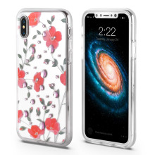 Vacker 3D-blomma anti-chock Iphone x fodral