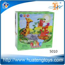 2016 Nuevos juguetes de los bloques huecos del parque zoológico animal del diseño para los cabritos