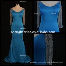 Los vestidos de noche largos atractivos de la sirena del cordón de la manga mezclan el vestido formal largo negro colorido de Champán