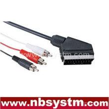Connecteur Scart mâle à 3 x câble RCA mâle