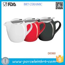 Bule de cerâmica vermelha preta e branca 750ml com infusor de aço inoxidável