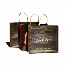 customized printed white and black brown kraft craft paper shopping bag with your own logo