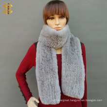 Rex Rabbit Fur Knitted Scarf Winter Fur Scarf Hand Knit Fur Scarf