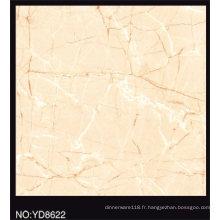 Tuile de porcelaine glacée pleine couleur polie de couleur beige 600X600mm