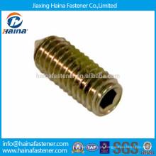 DIN914 aço carbono zinco chapeado sextavado parafuso de fixação com cone