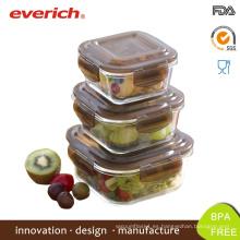 Venta al por mayor caja de almuerzo de vidrio cuadrado borosilicato seguro microondas