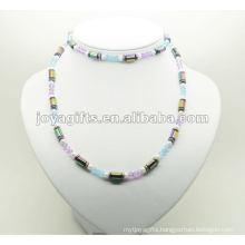 Fashion Hematite Wrap With Rainbow Tube Beads