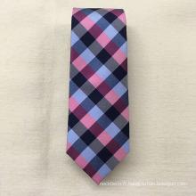 Cravate promotionnelle formelle en gros faite sur commande d'hommes de Jacquard de soie de plaid
