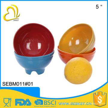 Superior design round 5 inch bamboo melamine rice salad bowl