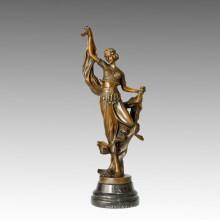 Dancer Statue Ribbon Dancing Bronze Sculpture, E. Gonon TPE-480