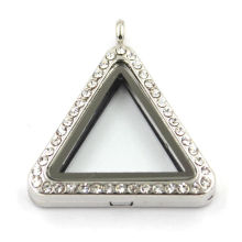 Triangle Floating Memory Locket Pendant Charm Glass Crystal Pendant