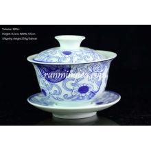 """Orchid Ratan"" Pintura Azul e Branco Porcelana Gaiwan 180cc"