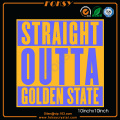 Straight Outta diseño Golden State Satin hotfix