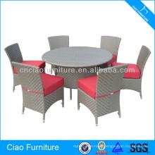 Mesa redonda e cadeira exteriores francesas antigas da sala de jantar do Rattan