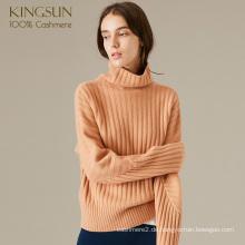 Frauen Neue Herbst Turtle Neck Rid Pullover 100% Kaschmir-Pullover