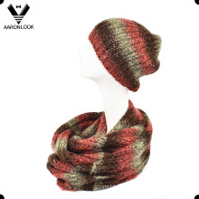 Space Dyed Acrylic Sequins Yarn Winter Knitting Infinity Scarf and Hat Set