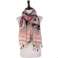 New arrival cotton voile scarf muslim women arab hijab scarf with tassel tribal print scarf