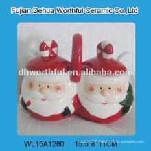 Popular ceramic double seasoning pot with santa claus