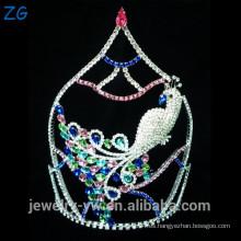 Diseño de moda de color rosa Rhinestone concurso Tiara pavo real corona nupcial corona joya tiara boda