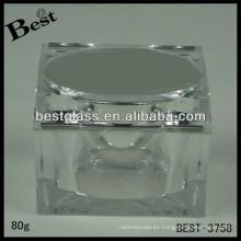 El tarro de acrílico de la forma cuadrada BEST-3758, pmma, abs, como, botella cosmética 20/50 / 80ml