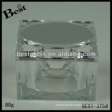BEST-3758 square shape acrylic jar,pmma,abs,as,20/50/80ml cosmetic bottle