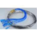 Cabo impermeável do remendo da fibra óptica do mpo-fc, cabos da fibra óptica h do mpo / fc 12 núcleo / 24core, cabo de correcção de fibra óptica ao ar livre singlemode