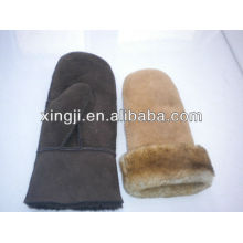 высокое качество овчины figerless зима подгонянные designwomen ягненка меховой перчатки
