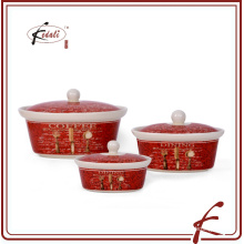 ceramic porcelain stockpot set of 3 with decoration