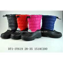 Black Oxford Cloth Snow Boots with Buckle