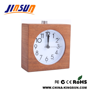 Dark Wood Desktop Quartz Clock Alarm With Snooze