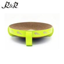 Diseño de dibujos animados de estabilidad circular Gato verde etiqueta de cama redonda rascador RCS-8001 MÁS BENEFICIOS