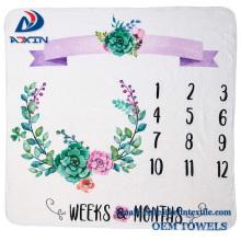 Super soft custom printed monthly baby milestone blanket