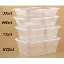Envase de comida rectangular plástico de los PP de 500 Ml desechables claros con la tapa