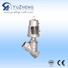 Haste de aço inoxidável Válvula de assento angular pneumática