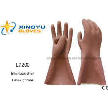 Latex Crinkle Interlock Shell Safety Work Glove (L7200)