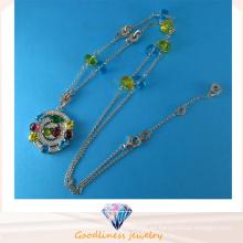 Buena calidad y venta caliente joyería de moda colgante de color CZ joyas de plata esterlina N6779