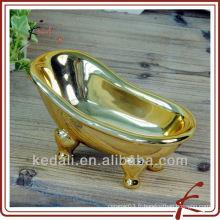 Plat en or plaqué en céramique