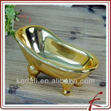 Gold plate ceramic bathtub soap dish