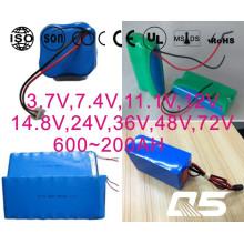 3.7V, 7.4V, 11.1V, 12V, 14.8V, 24V, 36V, 48V, 72V Li-ion 18650, Cilíndrico, Recarregável, LiFePO4, Bateria de Lítio