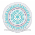 Geometric patterns Garden Mandala Round Beach Towel - Aqua/Orange BT-558 China Supplier