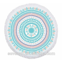 Geometric patterns Garden Mandala Round Beach Towel - Aqua/Orange BT-558 China Supplier