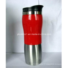 Tasse en acier inoxydable 16oz avec coque rouge