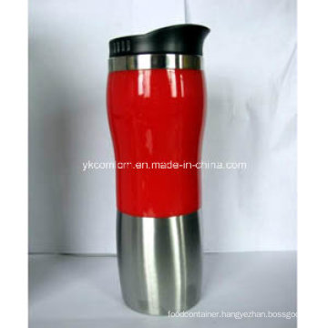 16oz Stainless Steel Mug with Red Shell