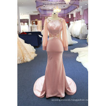Long Sleeve Satin Sequin Mermaid Evening Dress