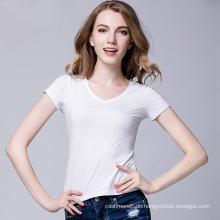 2017 Großhandel Mode-Design Benutzerdefinierte Druck 100% Baumwolle Benutzerdefinierte V-ausschnitt Frauen Weißes T-shirt