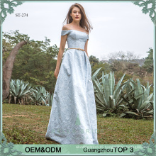 Decent jaquard evening dress elegant western frock designs party wear gowns for ladies