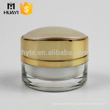 decorative white inner painting cosmetic cream jar with fancy gold cap